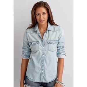 American Eagle Outfitters Chambray Top S